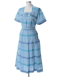 1950's Blue Plaid Check Shirtwaist Dress-Authentic 50's Vintage ...