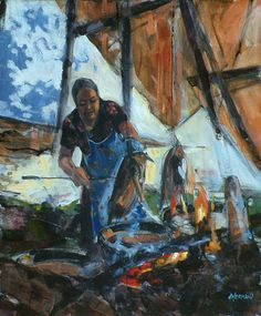 Dominique Normand - Cooking gesse Cold, Paintings, Cooking, Contemporary Art, Cuisine, Kitchen, Painting, Draw, Portrait