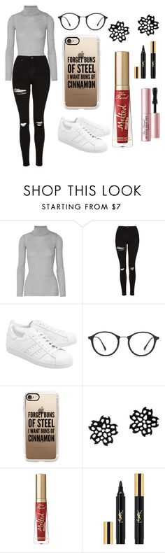 """Sans titre #1665"" by merveille67120 ❤ liked on Polyvore featuring Balmain, Topshop, adidas Originals, Ray-Ban, Casetify, Too Faced Cosmetics and Yves Saint Laurent"
