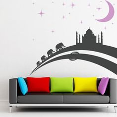 India At Night Wall Sticker. India has been considered a vastly vibrant hotspot of melting cultures and lots of happening destinations with their exotic charms and especially at night, people appreciate the real view of India and these decals stickers will remind you of India at night. http://walliv.com/india-at-night-wall-sticker-wall-art-decal