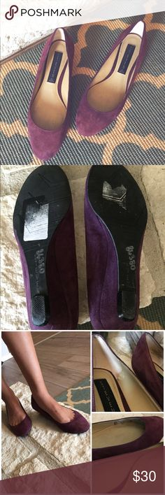 S t e v e  M a d d e n  B a l l e t  F l a t s Steve Madden Suede Plum Ballet Wedge Flats. Size 5.5. Has some minor wear inside shoe but still wearable. Very cute for fall! Has a small wedge. Steven by Steve Madden Shoes Flats & Loafers