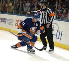 New York Islanders star John Tavares celebrates goal.