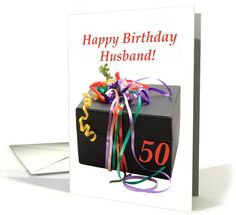husband's 50th birthday gift with ribbons card