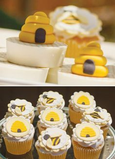 A bumble-bee and beehive sweets spread. Adorable for a baby shower or little one's birthday. #pinparty