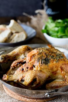 Crisp black truffle stuffed roasted chicken