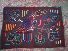 Vintage San Blas Panama Folk Art - Kuna Mola.  Hand stitched /embroidered by the Kuna Indians.