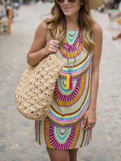 robe sans manche -multicolore