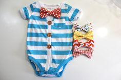 Newborn baby boy coming home outfit. Bowtie cardigan bow tie Blue white striped bodysuit with orange chevron bowtie. Hospital shower