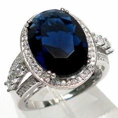 MAGNIFICENT 10 CT SAPPHIRE 925 STERLING SILVER RING SIZE 7