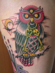 947ea5e5aba13 Skeleton Key Owl Tattoo This dark owl holds a skeleton key, perhaps  unlocking unknown mysteries.