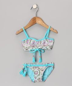 Take a look at this Turquoise Moroccan Bandeau Bikini - Girls by Azul Swimwear on today! Summer Bathing Suits, Girls Bathing Suits, Summer Suits, Girls Summer Outfits, Girl Outfits, Summer Girls, Swimming Outfit, Swimming Suits, Kids Suits