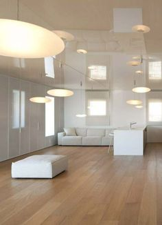 Itai Paritzki & Paola Liani Architects · O Apartment Contemporary Architecture, Interior Architecture, Interior Design, Hanging Light Fixtures, Hanging Lights, Bauhaus, Agi Architects, Suspended Lighting, Glass Diffuser