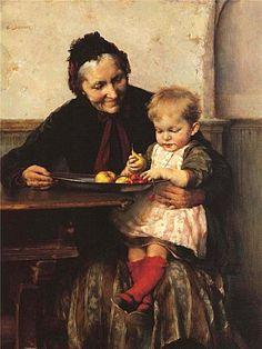 Georgios Jakobides, (Greek, 1853-1932) - Grandma's Favorite