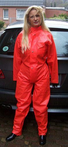 Blonde in red rain suit