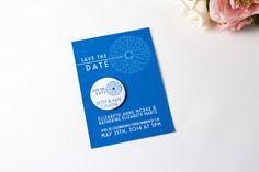 Save the Date Magnet Dandelion Royal Blue by bethofalltrades
