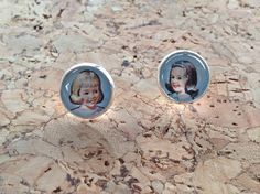 Schoolgirl, Friends, Stud Earrings with vintage Ladybird book images Button Decorations, Picture Dictionary, Ladybird Books, Book Images, Schoolgirl, Better Love, Glass Domes, Vintage Books, Beautiful Earrings