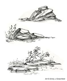 Image result for how to draw rocks line drawing