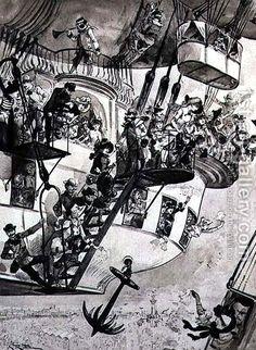 Departure of a Transatlantic Balloon. By Albert Robida, Albert Robida, Future Earth, Steampunk, The Frankenstein, Scrapbook Blog, Lowbrow Art, Science Fiction Art, Ballon, Dieselpunk