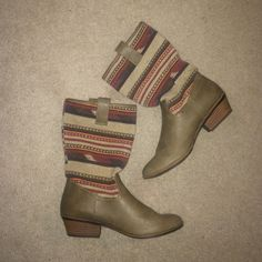 aztec taupe booties  Aztec light brown/taupe booties. ALMOST NEW  always accepting trades && offers ❤️ Unionbay Shoes Heeled Boots