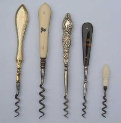 Perfume & Medicine Corkscrews - In past times perfume, ink & medicine bottles were all corked so it was essential to have a smaller more practical corkscrew for opening. Wine Bottle Opener, Medicine Bottles, Pens, Cork, Nostalgia, Hobbies, Objects, Collections, Perfume