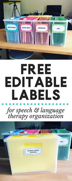 FREE Editable Labels for Speech Therapy File Organization