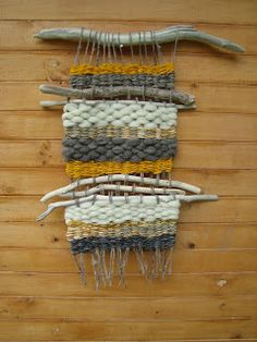 Wool with natural wood woven in Weaving Textiles, Weaving Art, Tapestry Weaving, Loom Weaving, Creative Textiles, Weaving Projects, Woven Wall Hanging, Weaving Techniques, Fabric Art