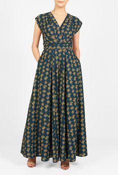 I <3 this Floral print crepe surplice maxi dress from eShakti