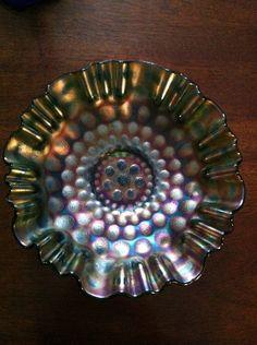 Fenton Coin Dot Carnival Glass Bowl by FrannieBee on Etsy https://www.etsy.com/listing/81851097/fenton-coin-dot-carnival-glass-bowl