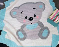 Crochet Pattern Baby Blanket - Cuddles Bear (Row-by-Row) Crochet Afghans, Baby Afghans, Crochet Blanket Patterns, Baby Blanket Crochet, Baby Patterns, Crochet Baby, Double Crochet, Single Crochet, Knitting Patterns