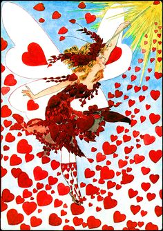 """Illustration:  """"LADY VALENTINE.""""  A Year With the Fairies.  By Anna M. Scott.  Illustrations by M. T. (Penny) Ross."""