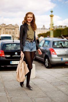 Frida Guvstanson street style, biker leather jacket, denim pants and kaki shirt