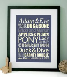 Idea for new starter welcome job offer yorkshire saying greeting personalised cockney rhyming slang art print m4hsunfo
