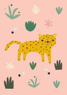 Wild cats II Mini Art Print by otja Painting For Kids, Art For Kids, Art And Illustration, Kids Prints, Art Prints, Kids Poster, Grafik Design, Nursery Art, Jungle Art