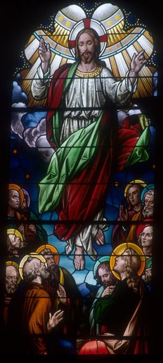 'The Ascension of Jesus' and 'Pentecost' stained glass windows - Catholic University of America