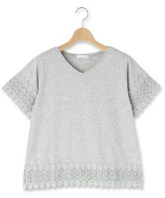 DRESKIP(ドレスキップ)の袖裾レースプルオーバー(Tシャツ/カットソー)|グレー
