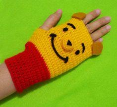 Crochet Fingerless Gloves Piglet by DarmianiDesign on Etsy
