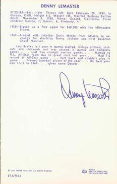 1968 Dexter Press Houston Astros #8 Denny Lemaster Back