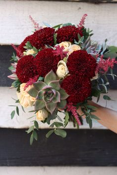 Succulent and Kiev Chrysanthemum Bridal Bouquet