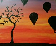 Hot Air Balloon painting on Canvas