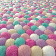 Felt Ball Rug Bubblegum with Lilac- Round - Little Rosie & Me