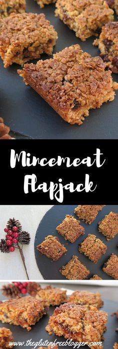 Mincemeat is not just for mince pies - try this tasty gluten free mincemeat flapjack recipe for a quick and tasty sweet treat this Christmas. Gluten Free Christmas Recipes, Gluten Free Desserts, Gluten Free Recipes Uk, Winter Recipes, Diabetic Recipes, Xmas Food, Christmas Cooking, Christmas Meat, Christmas Nibbles