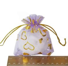 Organza Bags - 15 Lilac Sheer Voile Drawstring Bag with Pretty Foil Hearts - 11cm x 9cm Drawstring Bags for Jewelry - Party Favor Bags #jewelrysupplies #craftsupplies