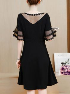 See-Through Solid Bell Sleeve Skater Dress In Black – Bellalike - Women's style: Patterns of sustainability Bell Sleeve Dress, Bell Sleeves, Short Sleeve Dresses, Dresses With Sleeves, Elegant Dresses, Cute Dresses, Skater Dresses, Cheap Dresses, Moda Plus Size