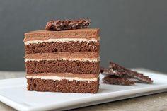 Chocolate hazelnut cake with praline chocolate crunch.  Recipe from Bon Appetit magazine
