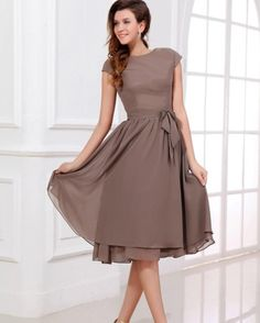 Brown Knee Length Mother Of The Bride Dresses 2016 Summer Cheap Chiffon Short Sleeve A Line Mother Of The Groom Gowns