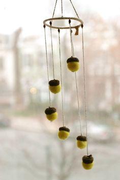 Felted acorns wind mobile