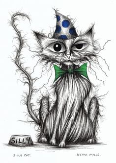 Silly cat Groovy puss in funny spotty hat & bow tie Original artwork ink drawing. via Etsy by Keith Mills