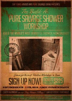 The Build a Pure Salvage Shower Workshop September 9 - 11, 2016 @ Tiny Texas Houses | Luling | Texas | United States