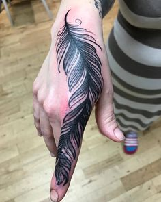 Amazing Feather Birds Tattoo Design For Index Finger and Hand