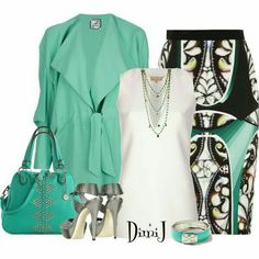 Designer Clothes, Shoes & Bags for Women Classy Outfits, Beautiful Outfits, Cute Outfits, Green Outfits, Professional Wear, Cute Skirts, Business Attire, Work Attire, Skirt Outfits
